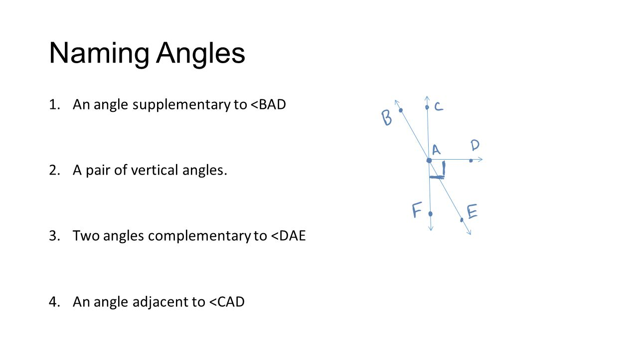 Naming Angles 1.An angle supplementary to <BAD 2.A pair of vertical angles.