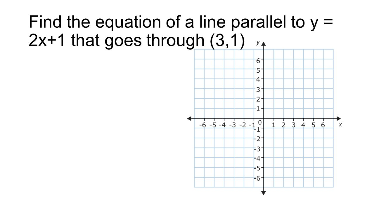 Find the equation of a line parallel to y = 2x+1 that goes through (3,1)