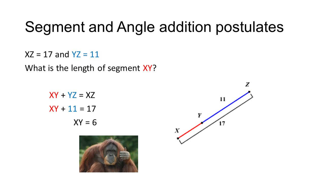 Segment and Angle addition postulates XZ = 17 and YZ = 11 What is the length of segment XY.
