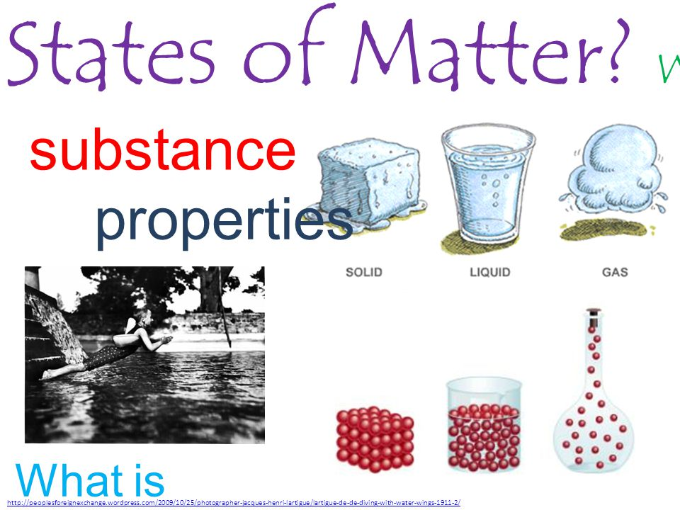 States of Matter.What are the differences. substance properties What is 'water'.