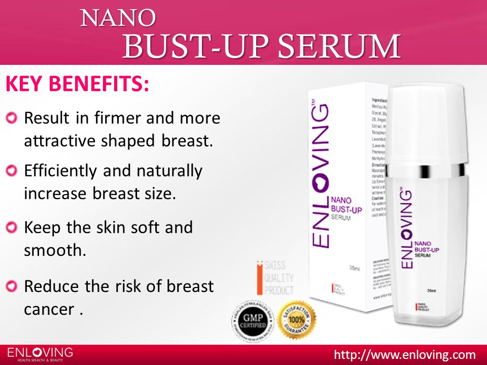 http://www.enloving.com NANO BUST-UP SERUM KEY BENEFITS: Reduce the risk of breast cancer.