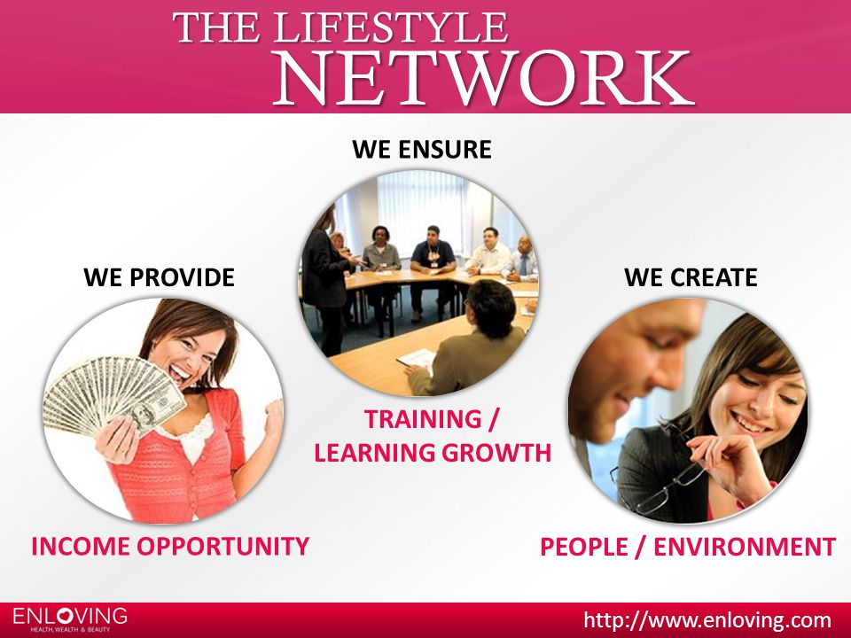 THE LIFESTYLE NETWORK WE ENSURE WE PROVIDEWE CREATE TRAINING / LEARNING GROWTH INCOME OPPORTUNITY PEOPLE / ENVIRONMENT