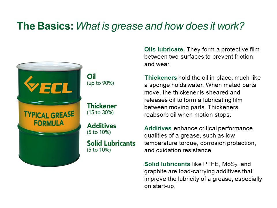 The Basics: What is grease and how does it work? Additives enhance critical performance qualities of a grease, such as low temperature torque, corrosi