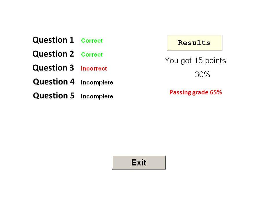 Question 1 Question 2 Question 3 Question 4 Question 5 Passing grade 65%