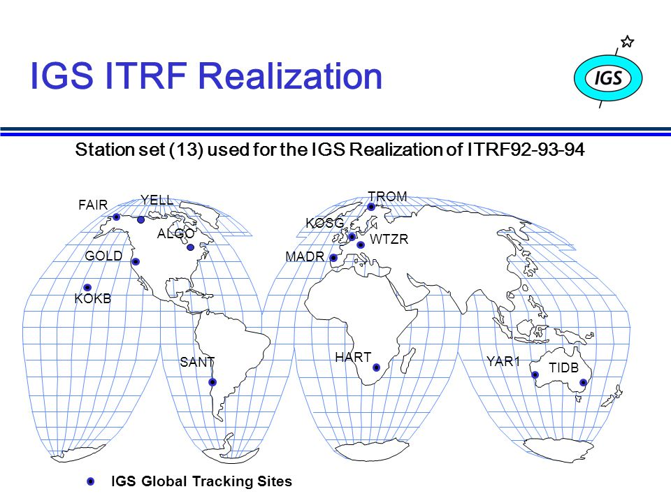 IGS ITRF Realization Station set (13) used for the IGS Realization of ITRF92-93-94 GOLD KOKB SANT FAIR HART MADR WTZR YAR1 TIDB IGS Global Tracking Sites ALGO KOSG TROM YELL