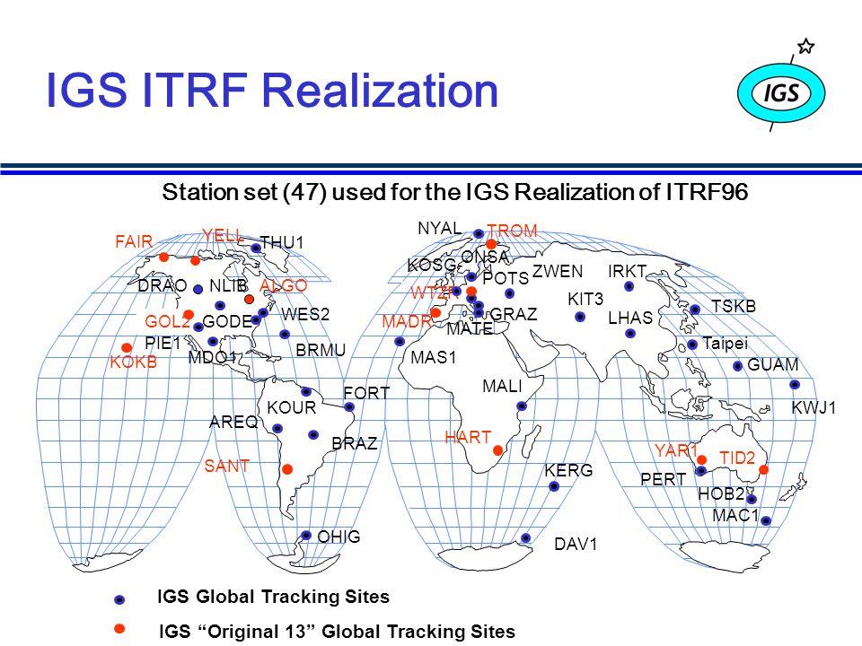 IGS ITRF Realization Station set (47) used for the IGS Realization of ITRF96 GOL2 KOKB Taipei SANT FAIR HART WTZR YAR1 TID2 IGS Global Tracking Sites WES2 FORT KOSG TSKB AREQ TROM KIT3 IRKT ZWEN LHAS GUAM DRAO KERG MALI DAV1 YELL ALGO MATE BRAZ BRMU GODE GRAZ HOB2 KOURKWJ1 MAC1 MAS1MDO1 NLIB NYAL OHIG ONSA PERT PIE1 POTS THU1 MADR IGS Original 13 Global Tracking Sites