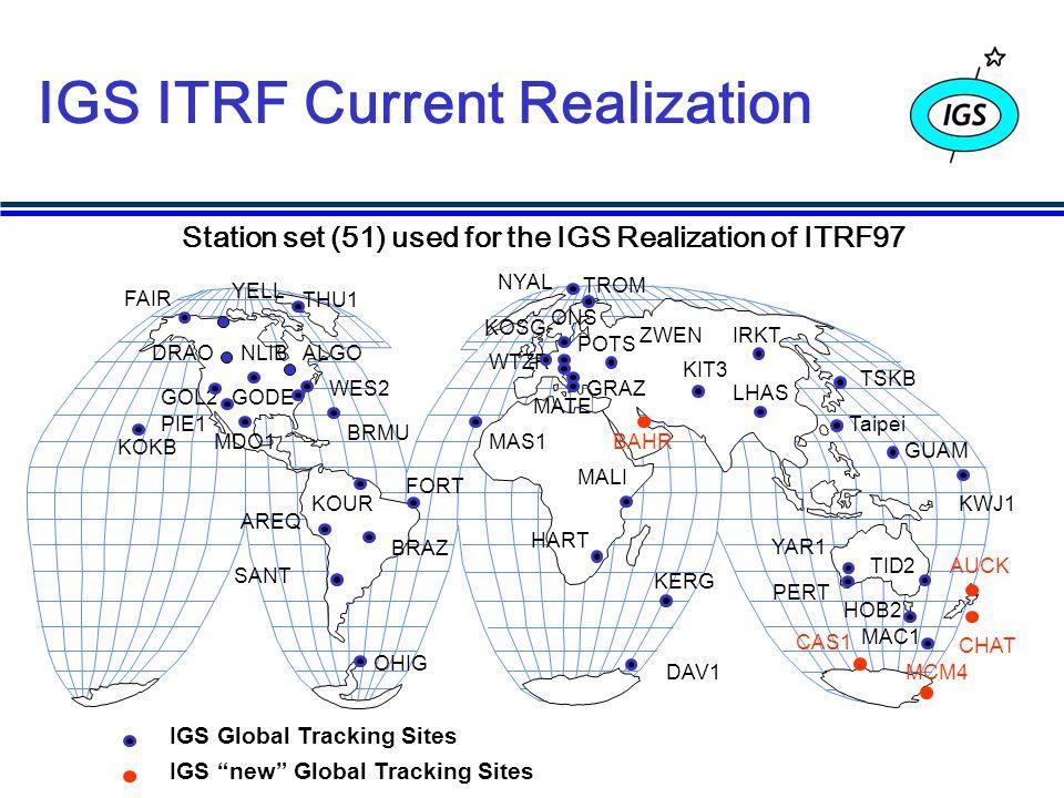 IGS ITRF Current Realization Station set (51) used for the IGS Realization of ITRF97 GOL2 KOKB Taipei SANT MCM4 FAIR HART WTZR YAR1 TID2 IGS Global Tracking Sites WES2 FORT KOSG TSKB AREQ TROM KIT3 IRKT ZWEN LHAS GUAM DRAO CAS1 KERG MALI DAV1 YELL ALGO MATE AUCK BAHR BRAZ BRMU CHAT GODE GRAZ HOB2 KOURKWJ1 MAC1 MAS1MDO1 NLIB NYAL OHIG ONS PERT PIE1 POTS THU1 IGS new Global Tracking Sites