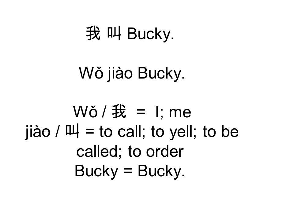 我 叫 Bucky. Wǒ jiào Bucky.