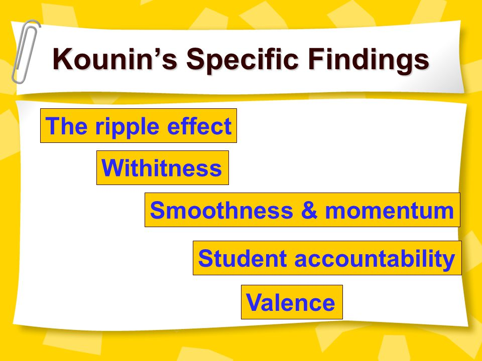 Jacob Kounin: (1970) Discipline and Group Management  Successful managers prevent behavior problems by keeping their students consistently & actively engaged in learning  Teachers who approach classroom management as the systematic process of establishing and maintaining a successful learning environment will have greater success than those who emphasize discipline
