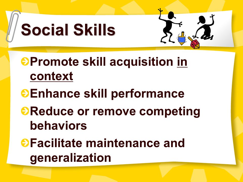 Teaching Social Skills Teach like an academic skill –Modeling –Role-playing –Coaching –Feedback –Generalization