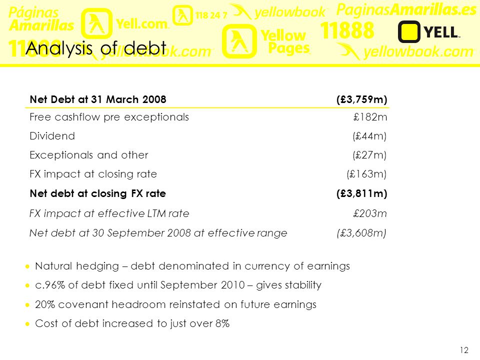 12 Analysis of debt Net Debt at 31 March 2008(£3,759m) Free cashflow pre exceptionals £182m Dividend (£44m) Exceptionals and other (£27m) FX impact at closing rate (£163m) Net debt at closing FX rate(£3,811m) FX impact at effective LTM rate £203m Net debt at 30 September 2008 at effective range(£3,608m)  Natural hedging – debt denominated in currency of earnings  c.96% of debt fixed until September 2010 – gives stability  20% covenant headroom reinstated on future earnings  Cost of debt increased to just over 8%