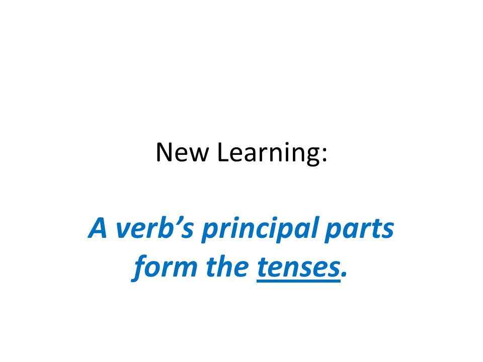 Principal Parts of REGULAR Verbs Infinitive/ base form Present ParticiplePast Participle (to) ____ ---- ing+ed (to) start(is) startingstarted(have) started