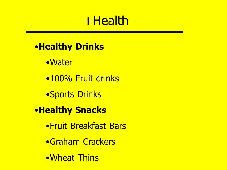 +Health Healthy Drinks Water 100% Fruit drinks Sports Drinks Healthy Snacks Fruit Breakfast Bars Graham Crackers Wheat Thins