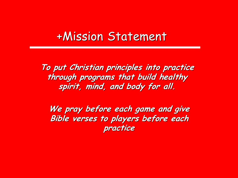 +Mission Statement +Mission Statement To put Christian principles into practice through programs that build healthy spirit, mind, and body for all.