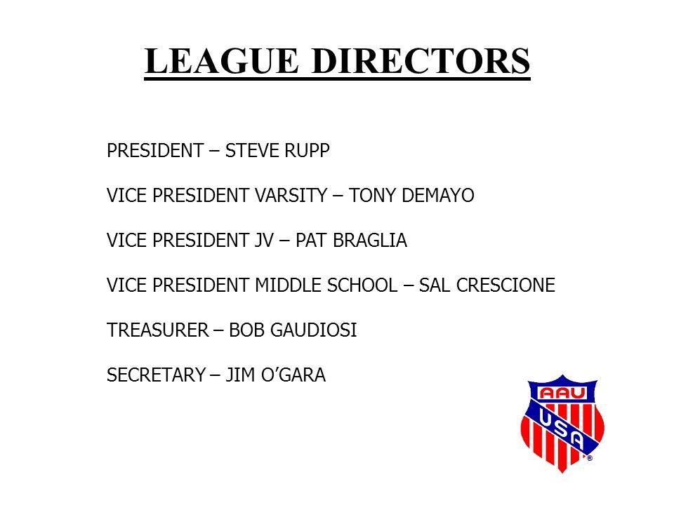 LEAGUE DIRECTORS PRESIDENT – STEVE RUPP VICE PRESIDENT VARSITY – TONY DEMAYO VICE PRESIDENT JV – PAT BRAGLIA VICE PRESIDENT MIDDLE SCHOOL – SAL CRESCIONE TREASURER – BOB GAUDIOSI SECRETARY – JIM O'GARA