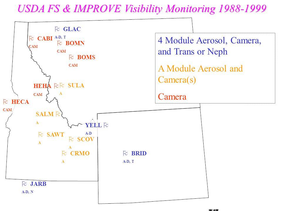  GLAC A-D, T  BRID A-D, T  SAWT A YELL  A-D  SULA A  BOMN CAM  CRMO A  BOMS CAM  CABI CAM USDA FS & IMPROVE Visibility Monitoring 1988-1999 SALM  A HEHA  CAM  HECA CAM  SCOV A  JARB A-D, N 4 Module Aerosol, Camera, and Trans or Neph A Module Aerosol and Camera(s) Camera