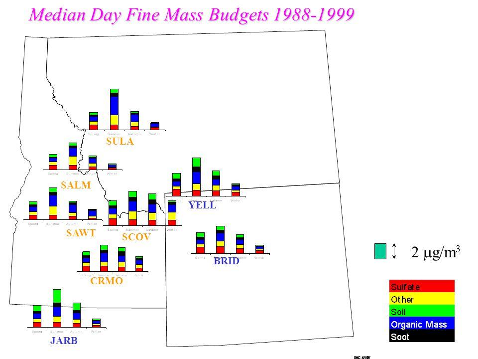 BRID SAWT YELL SULA CRMO Hazy Day Fine Mass Budgets 1988-1999 SALM SCOV JARB 5  g/m 3