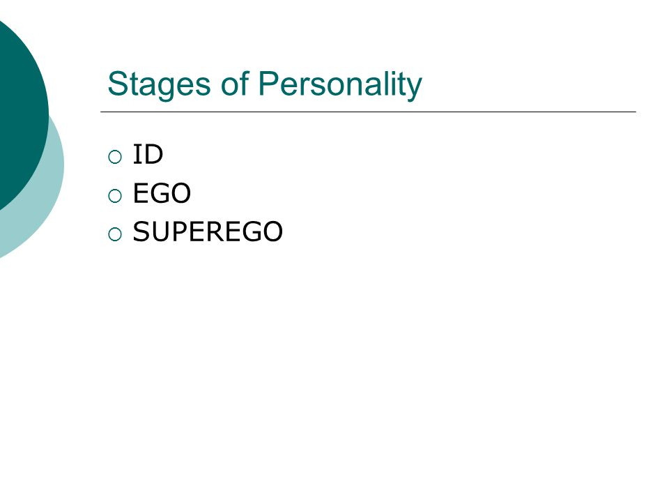 Stages of Personality  ID  EGO  SUPEREGO