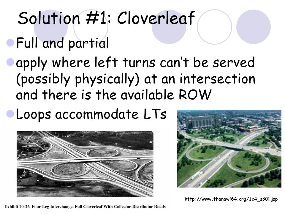 23 Solution #1: Cloverleaf Full and partial apply where left turns can't be served (possibly physically) at an intersection and there is the available ROW Loops accommodate LTs http://www.thenewi64.org/1c4_spui.jsp