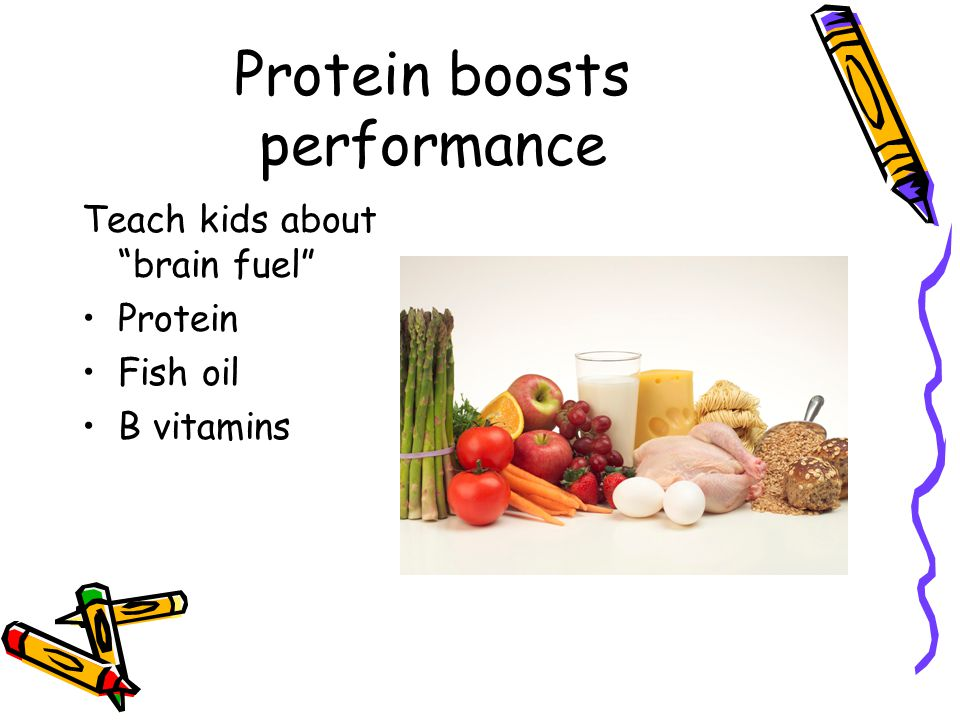 Protein boosts performance Teach kids about brain fuel Protein Fish oil B vitamins