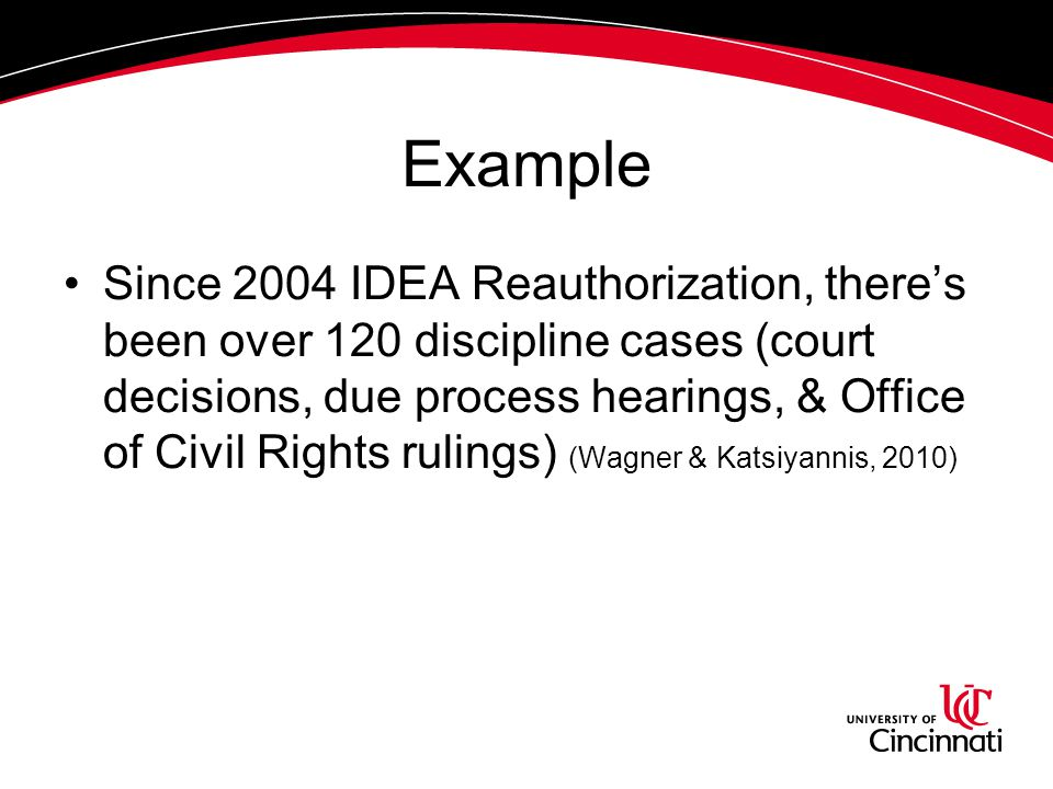 Example Since 2004 IDEA Reauthorization, there's been over 120 discipline cases (court decisions, due process hearings, & Office of Civil Rights rulin