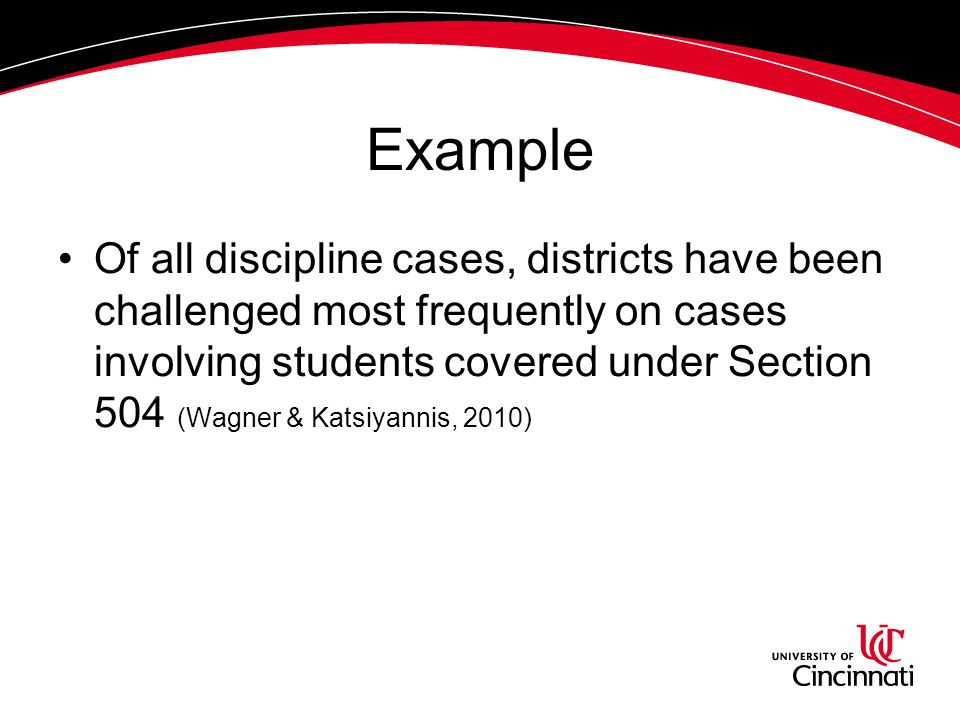 Example Of all discipline cases, districts have been challenged most frequently on cases involving students covered under Section 504 (Wagner & Katsiy