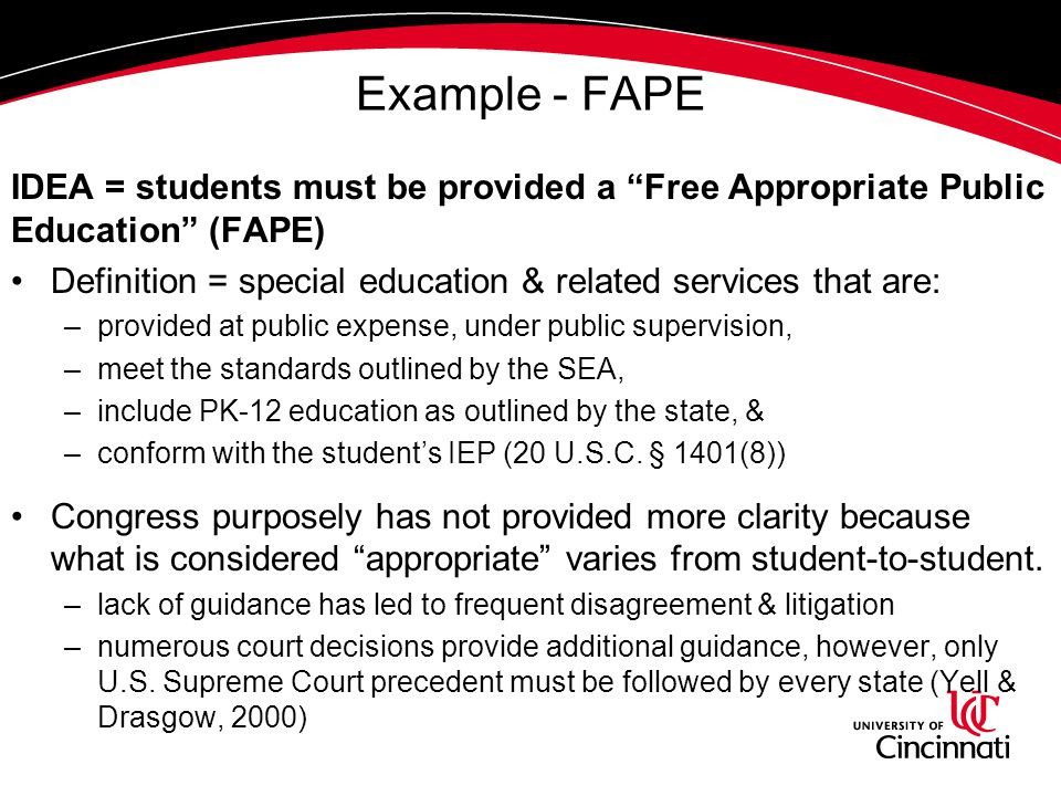 Example - FAPE IDEA = students must be provided a Free Appropriate Public Education (FAPE) Definition = special education & related services that are: –provided at public expense, under public supervision, –meet the standards outlined by the SEA, –include PK-12 education as outlined by the state, & –conform with the student's IEP (20 U.S.C.