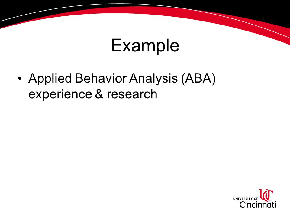 Example Applied Behavior Analysis (ABA) experience & research