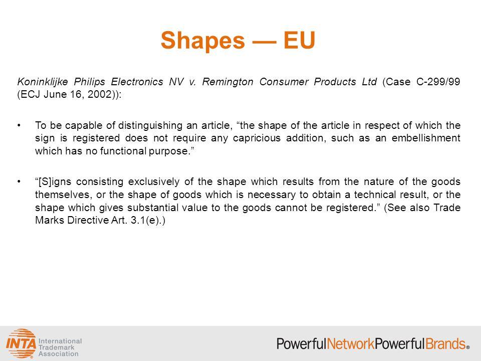 Shapes — EU Koninklijke Philips Electronics NV v. Remington Consumer Products Ltd (Case C-299/99 (ECJ June 16, 2002)): To be capable of distinguishing