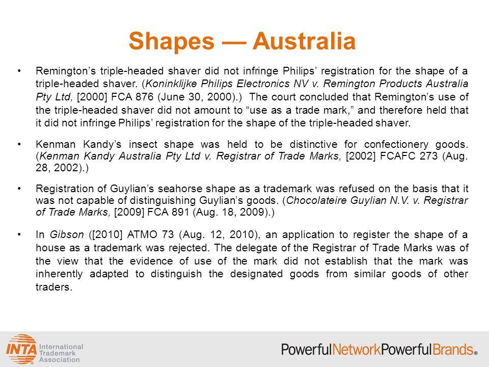 Shapes — Australia Remington's triple-headed shaver did not infringe Philips' registration for the shape of a triple-headed shaver. (Koninklijke Phili