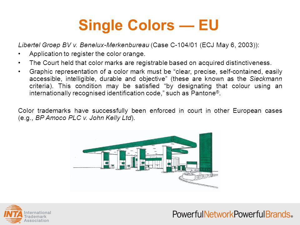 Single Colors — EU Libertel Groep BV v. Benelux-Merkenbureau (Case C-104/01 (ECJ May 6, 2003)): Application to register the color orange. The Court he