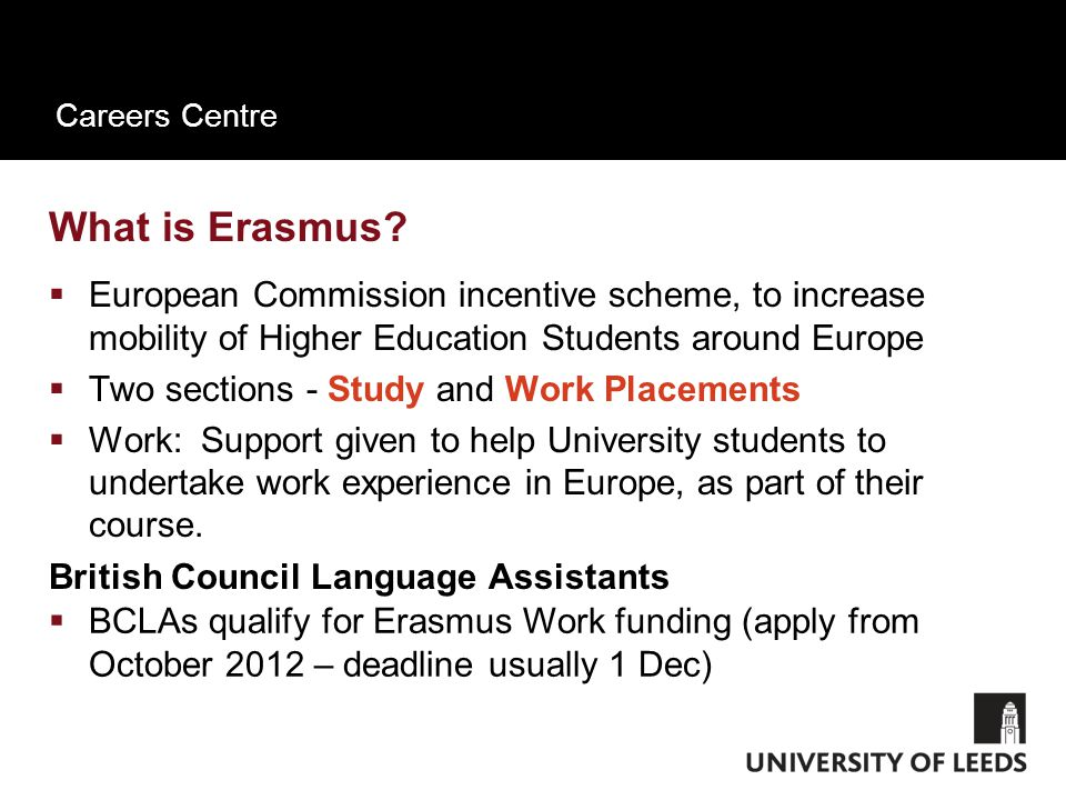 Careers Centre What is Erasmus.