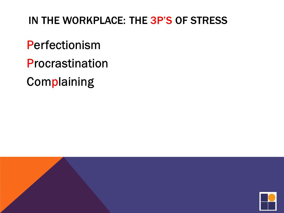 IN THE WORKPLACE: THE 3P'S OF STRESS Perfectionism Procrastination Complaining