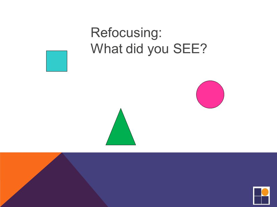 Refocusing: What did you SEE