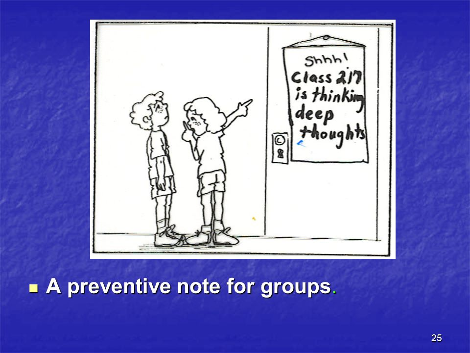 25 A preventive note for groups.