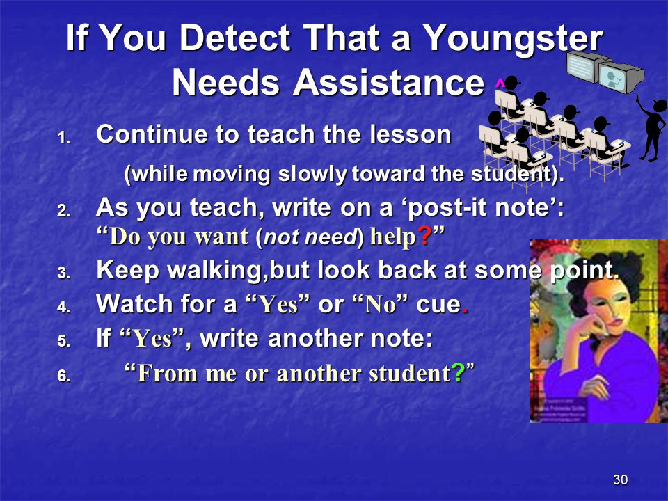 30 If You Detect That a Youngster Needs Assistance ^ 1.