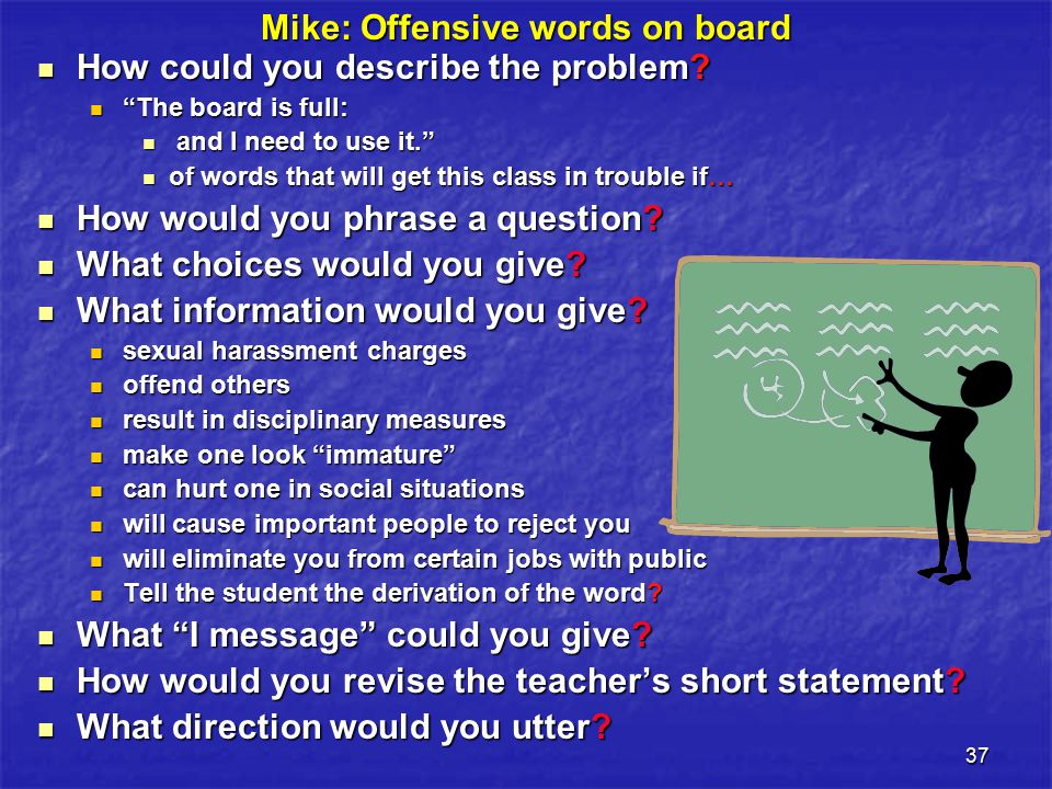 37 Mike: Offensive words on board How could you describe the problem.