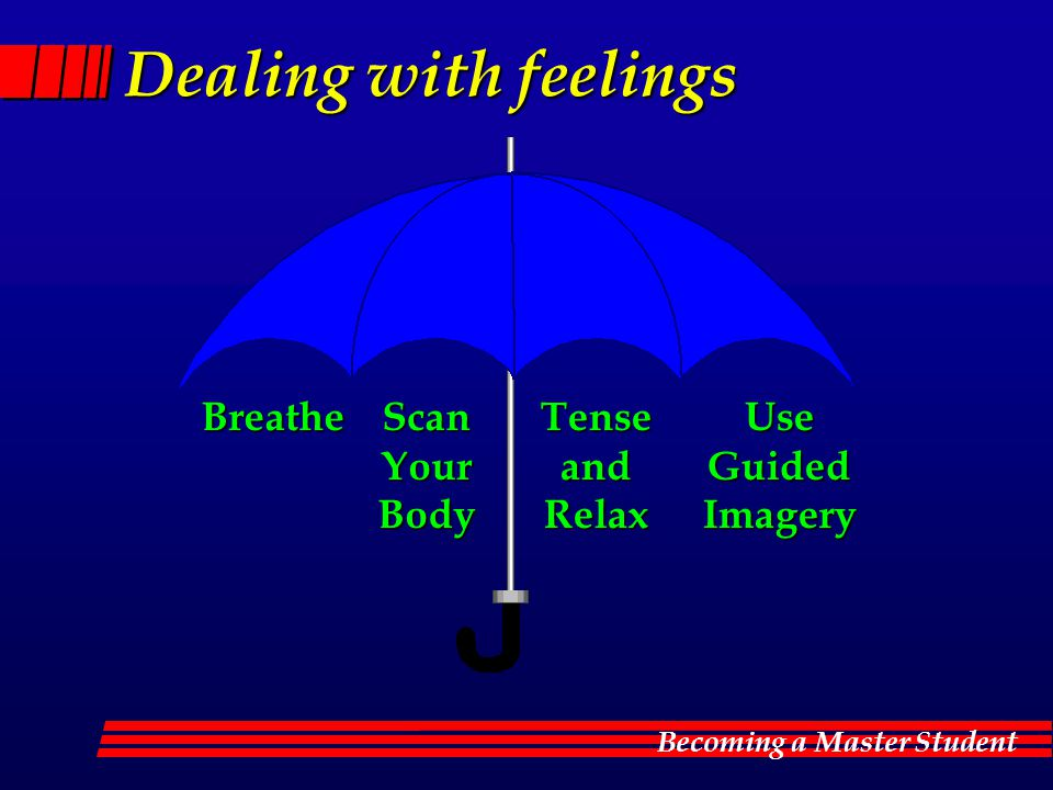 Becoming a Master Student Dealing with feelings BreatheScanYourBodyTenseandRelaxUseGuidedImagery