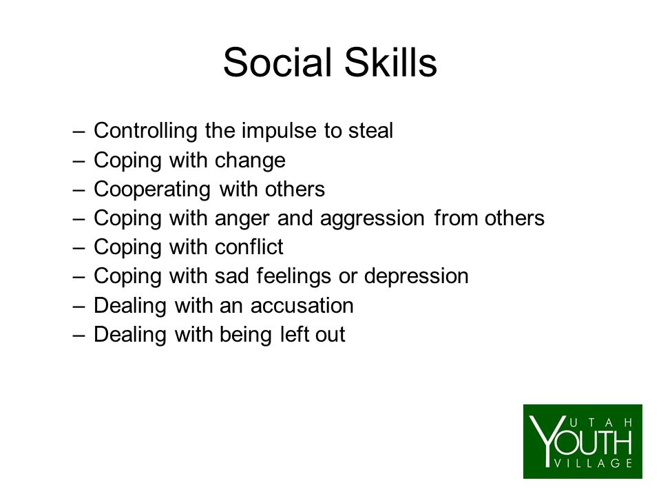 Social Skills –Controlling the impulse to steal –Coping with change –Cooperating with others –Coping with anger and aggression from others –Coping with conflict –Coping with sad feelings or depression –Dealing with an accusation –Dealing with being left out