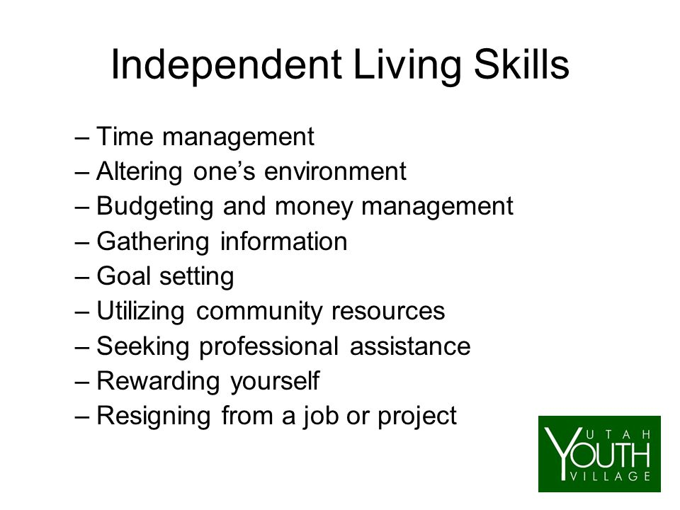 Independent Living Skills –Time management –Altering one's environment –Budgeting and money management –Gathering information –Goal setting –Utilizing community resources –Seeking professional assistance –Rewarding yourself –Resigning from a job or project