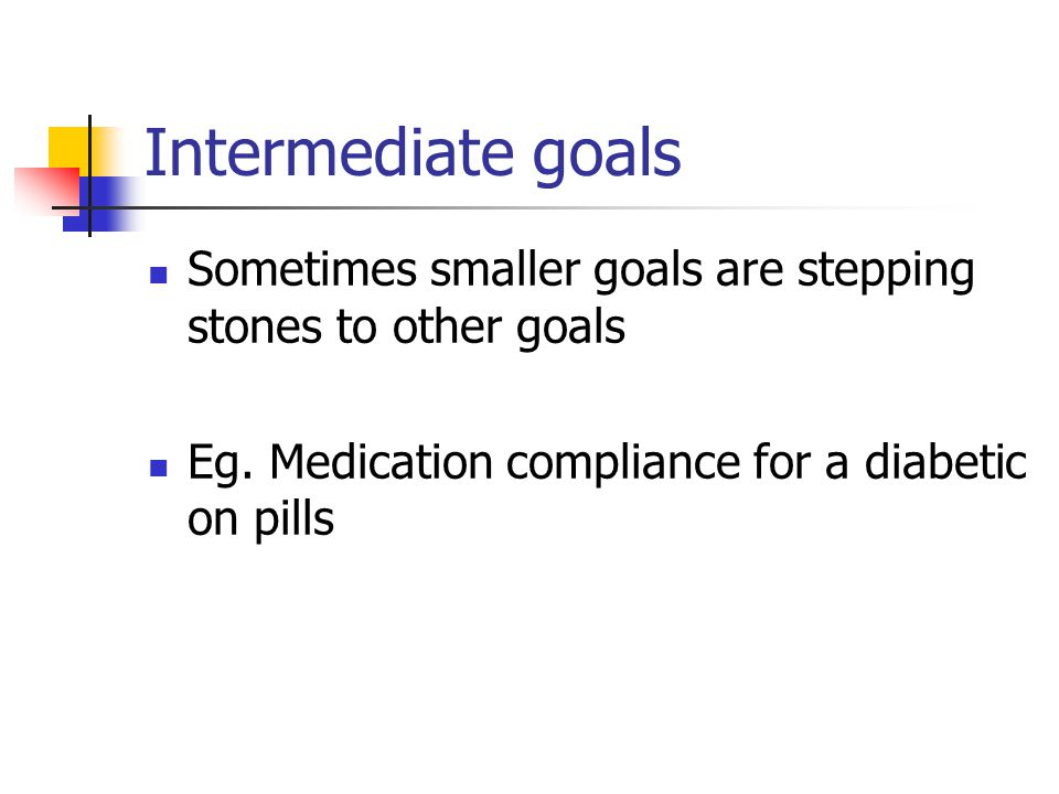 Intermediate goals Sometimes smaller goals are stepping stones to other goals Eg. Medication compliance for a diabetic on pills