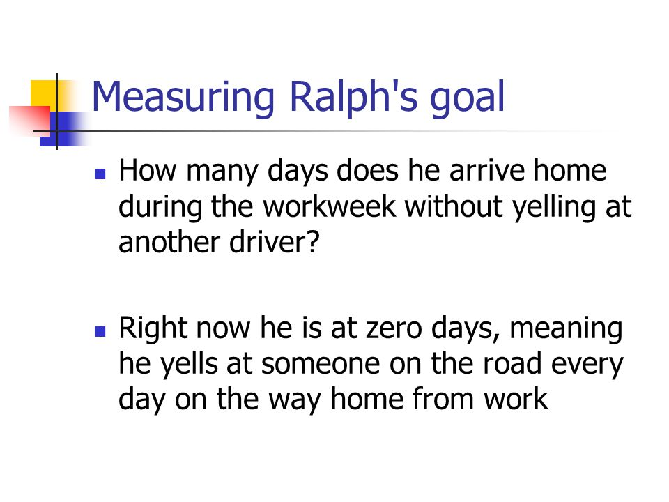 Measuring Ralph's goal How many days does he arrive home during the workweek without yelling at another driver? Right now he is at zero days, meaning