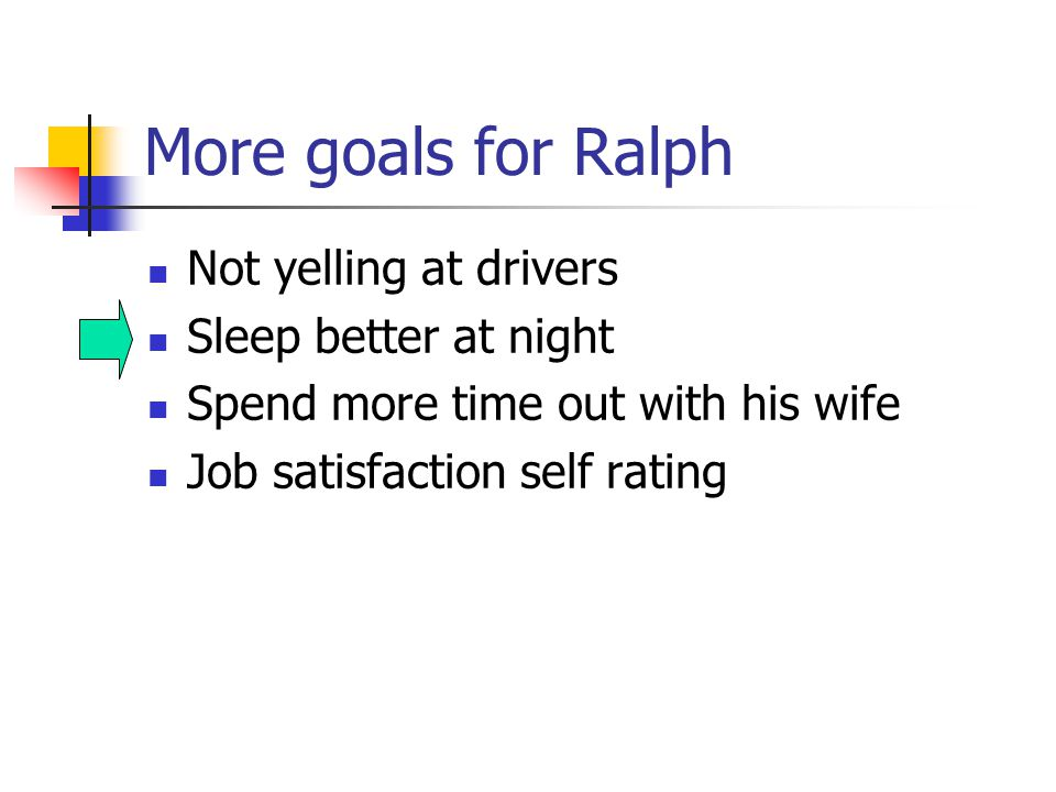 More goals for Ralph Not yelling at drivers Sleep better at night Spend more time out with his wife Job satisfaction self rating