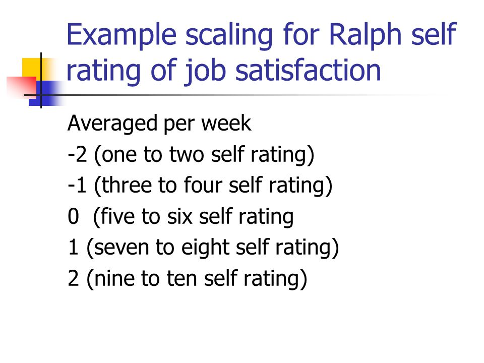 Example scaling for Ralph self rating of job satisfaction Averaged per week -2 (one to two self rating) -1 (three to four self rating) 0 (five to six