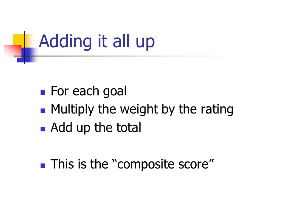 """Adding it all up For each goal Multiply the weight by the rating Add up the total This is the """"composite score"""""""