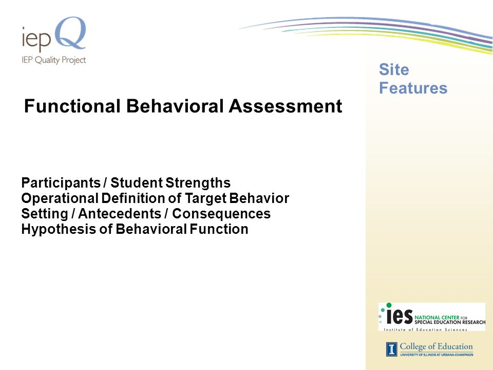 Site Features Participants / Student Strengths Operational Definition of Target Behavior Setting / Antecedents / Consequences Hypothesis of Behavioral