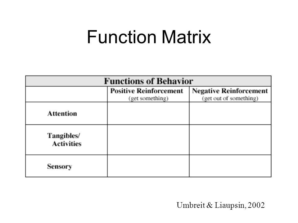 Function Matrix Umbreit & Liaupsin, 2002