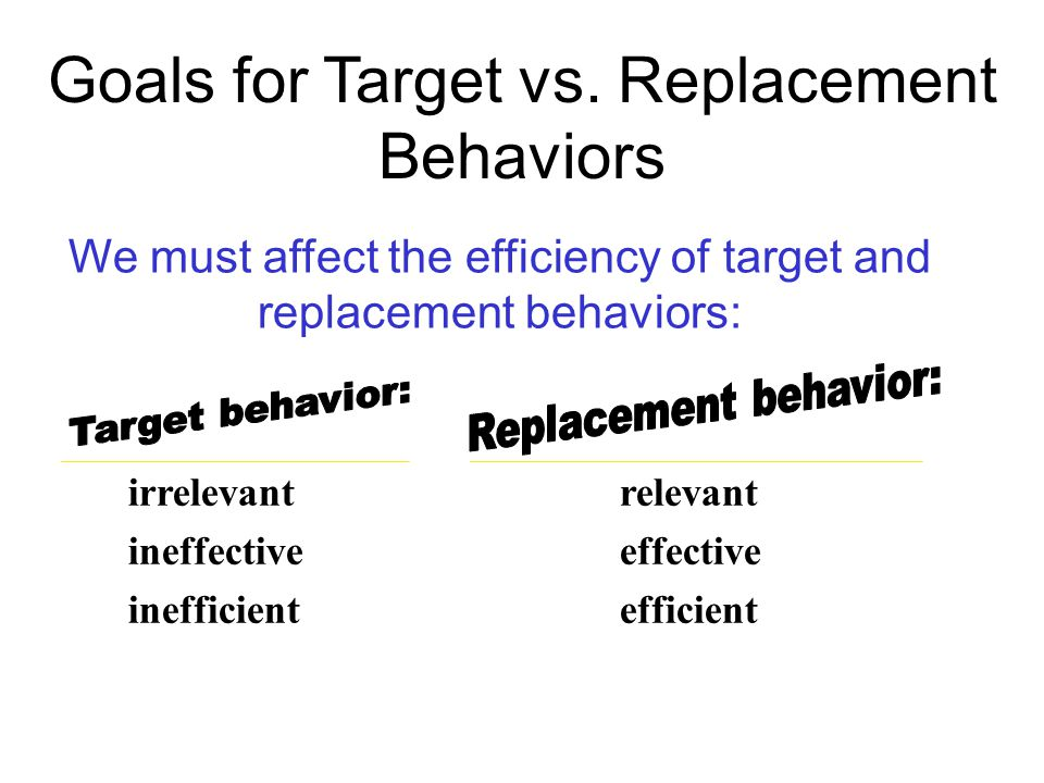 We must affect the efficiency of target and replacement behaviors: irrelevant ineffective inefficient relevant effective efficient Goals for Target vs