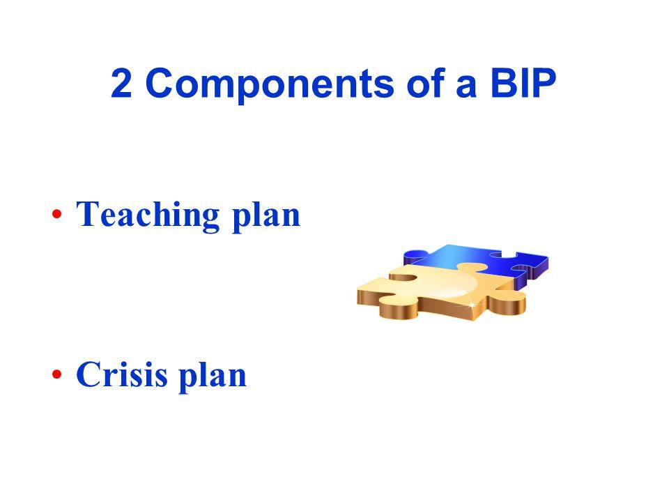 2 Components of a BIP Teaching plan Crisis plan