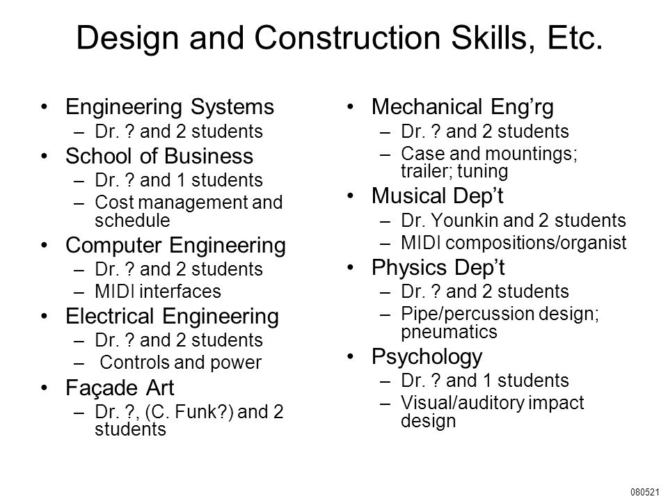 Design and Construction Skills, Etc. Engineering Systems –Dr.